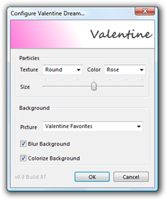 Valentine Dream Configuration Window